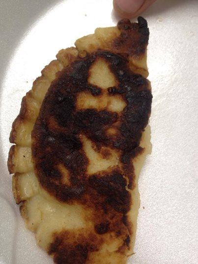 the face of Jesus seen in the pierogi cooked at a fair in Ecorse, Mich. (St. Andre Bessette Church)