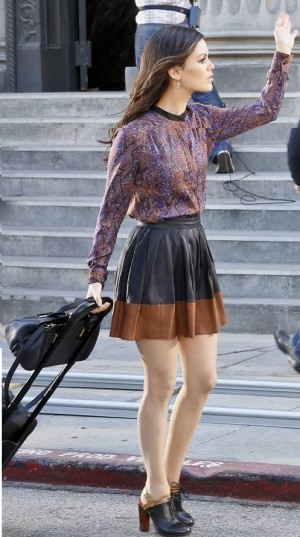 Rachel Bilson wearing Rebecca Taylor Python Print Henley Blouse in Plum, Joie Lusila Leather Skirt.